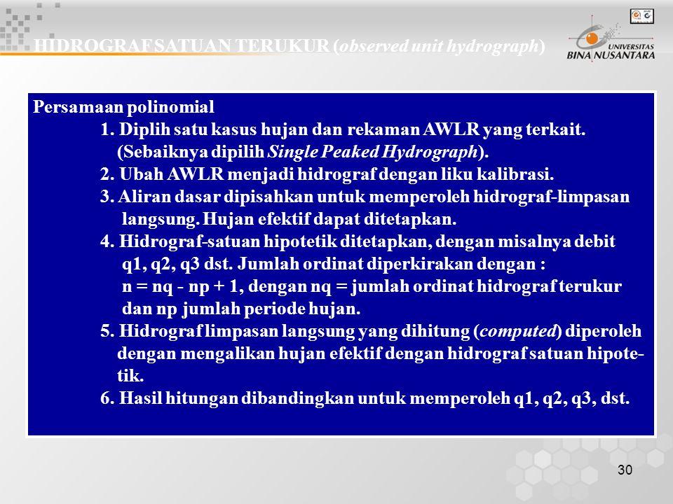 29 Transformasi dengan hidrograf-satuan R1 R2 R3 X1 X2 X3 X4 Akibat R1 Akibat R2 Akibat R3 R1X1 R1X2 R1X3 R1X4 R2X1 R2X2 R2X3 R2X4 R3X1 R3X2 R3X3 R3X4