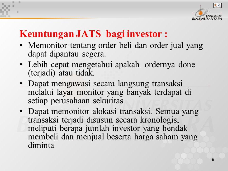 9 Keuntungan JATS bagi investor : Memonitor tentang order beli dan order jual yang dapat dipantau segera. Lebih cepat mengetahui apakah ordernya done