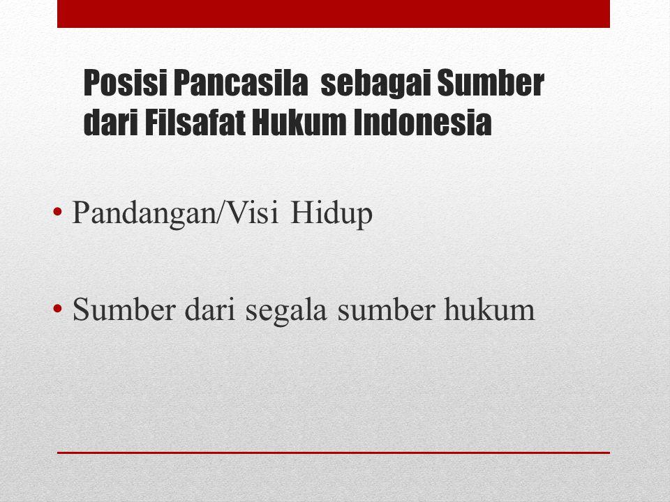 Posisi Pancasila sebagai Sumber dari Filsafat Hukum Indonesia Pandangan/Visi Hidup Sumber dari segala sumber hukum