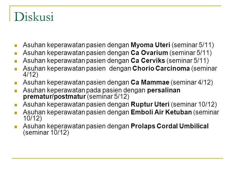 Diskusi Asuhan keperawatan pasien dengan Myoma Uteri (seminar 5/11) Asuhan keperawatan pasien dengan Ca Ovarium (seminar 5/11) Asuhan keperawatan pasien dengan Ca Cerviks (seminar 5/11) Asuhan keperawatan pasien dengan Chorio Carcinoma (seminar 4/12) Asuhan keperawatan pasien dengan Ca Mammae (seminar 4/12) Asuhan keperawatan pada pasien dengan persalinan prematur/postmatur (seminar 5/12) Asuhan keperawatan pasien dengan Ruptur Uteri (seminar 10/12) Asuhan keperawatan pasien dengan Emboli Air Ketuban (seminar 10/12) Asuhan keperawatan pasien dengan Prolaps Cordal Umbilical (seminar 10/12)