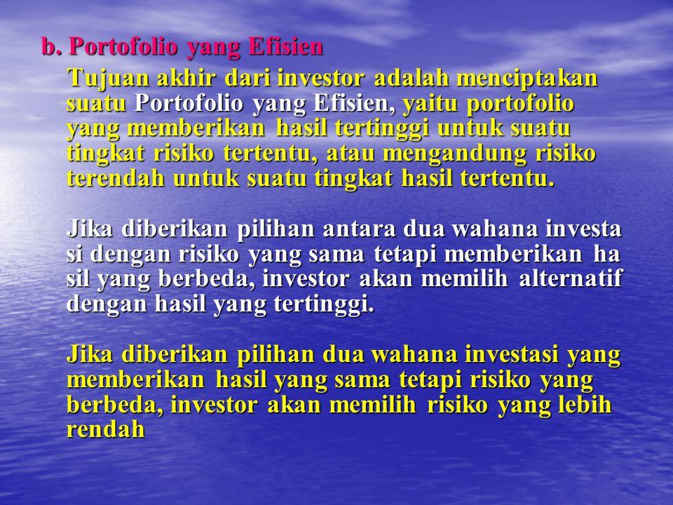 b. Portofolio yang Efisien Tujuan akhir dari investor adalah menciptakan suatu Portofolio yang Efisien, yaitu portofolio yang memberikan hasil terting