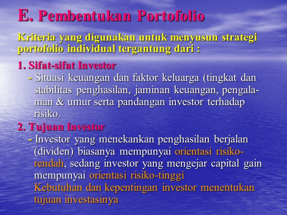E. Pembentukan Portofolio Kriteria yang digunakan untuk menyusun strategi portofolio individual tergantung dari : 1. Sifat-sifat Investor - Situasi ke