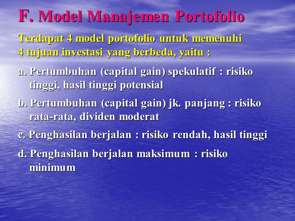 F. Model Manajemen Portofolio Terdapat 4 model portofolio untuk memenuhi 4 tujuan investasi yang berbeda, yaitu : a. Pertumbuhan (capital gain) spekul