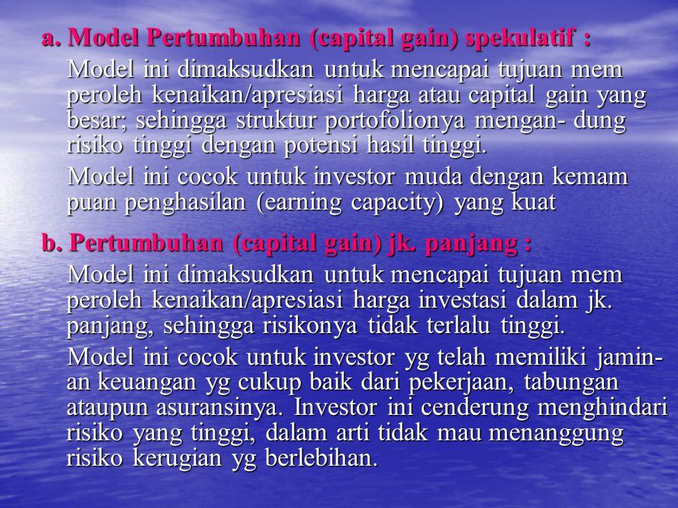 a. Model Pertumbuhan (capital gain) spekulatif : Model ini dimaksudkan untuk mencapai tujuan mem peroleh kenaikan/apresiasi harga atau capital gain ya