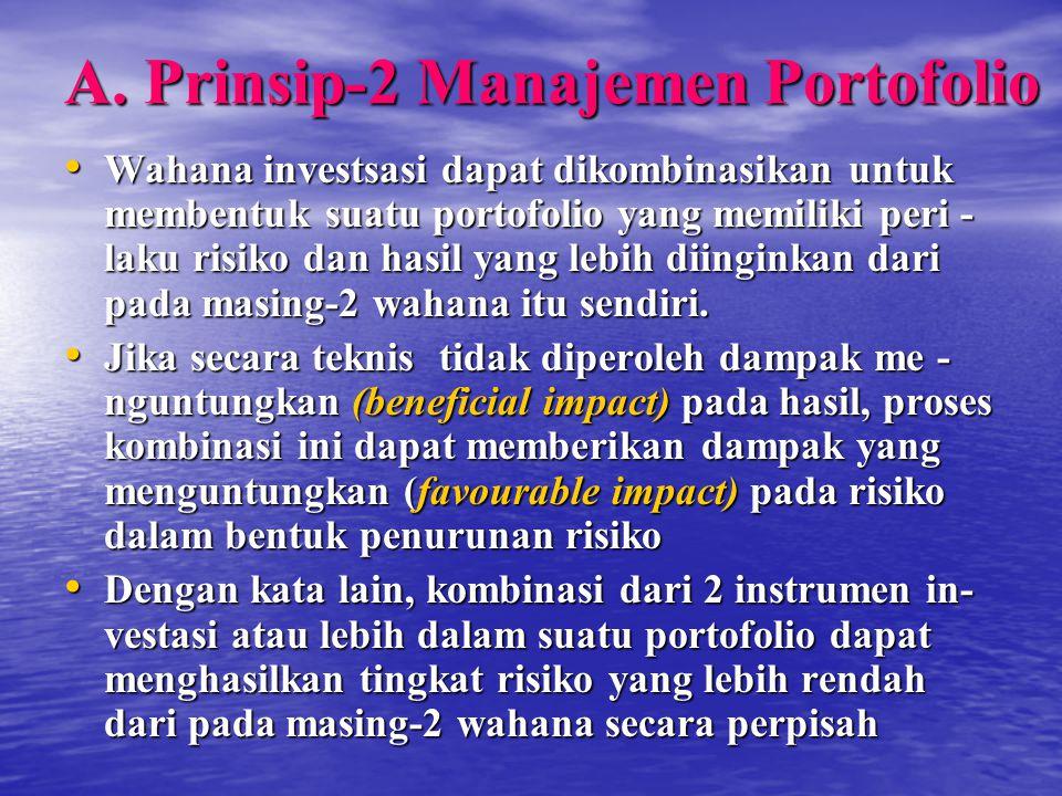 A. Prinsip-2 Manajemen Portofolio Wahana investsasi dapat dikombinasikan untuk membentuk suatu portofolio yang memiliki peri - laku risiko dan hasil y