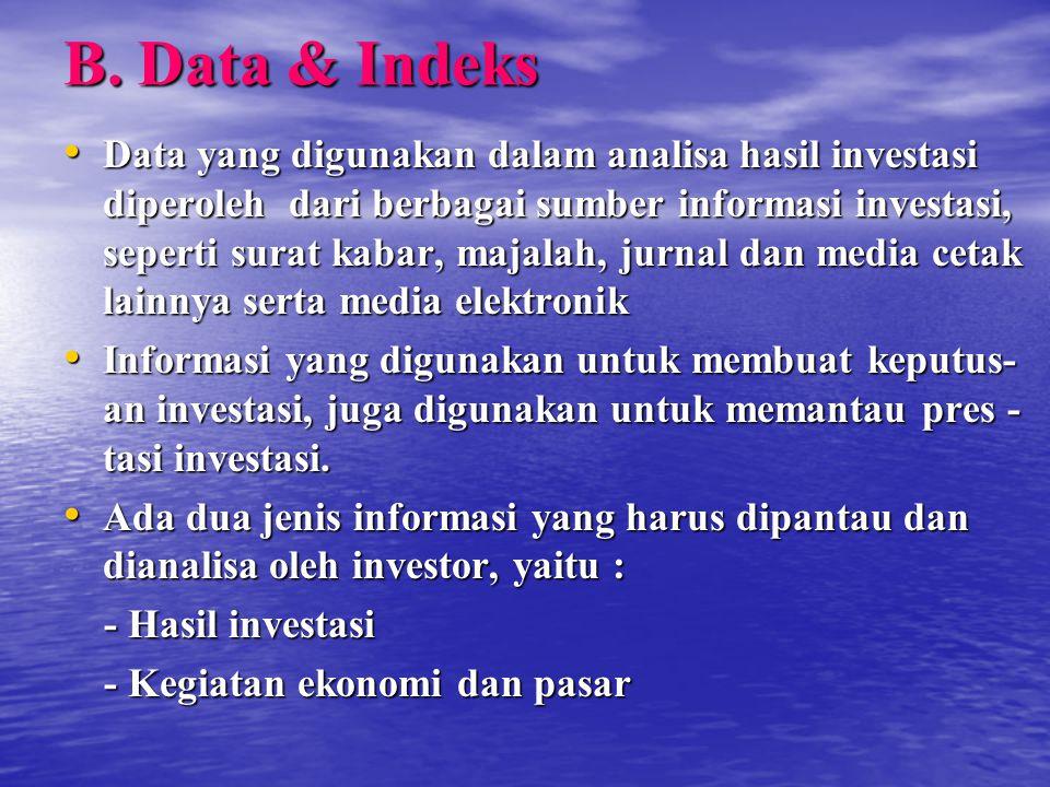 B. Data & Indeks Data yang digunakan dalam analisa hasil investasi diperoleh dari berbagai sumber informasi investasi, seperti surat kabar, majalah, j