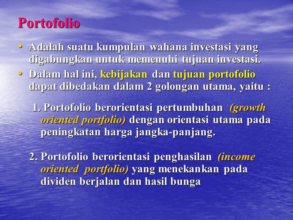 Contoh : Jika suatu portofolio menghasilkan return 15%, me - ngandung beta 1,5 sedangkan pasar menghasilkkan return 10% dalam periode yang sama, maka : RAR = 15% - ( 1,5 x 10%) = 0 RAR = 15% - ( 1,5 x 10%) = 0 Berarti portofolio tersebut berprestasi tepat sebagaimana yang diharapkan Berarti portofolio tersebut berprestasi tepat sebagaimana yang diharapkan Saham atau portofolio yang memiliki RAR positif, menunjukkan prestasi lebih baik (out performed) dari pada pasar.