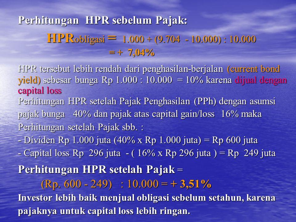 Perhitungan HPR sebelum Pajak: HPR obligasi = 1.000 + (9.704 - 10.000) : 10.000 HPR obligasi = 1.000 + (9.704 - 10.000) : 10.000 = + 7,04% = + 7,04% HPR tersebut lebih rendah dari penghasilan-berjalan (current bond yield) sebesar bunga Rp 1.000 : 10.000 = 10% karena dijual dengan capital loss Perhitungan HPR setelah Pajak Penghasilan (PPh) dengan asumsi pajak bunga 40% dan pajak atas capital gain/loss 16% maka Perhitungan setelah Pajak sbb.
