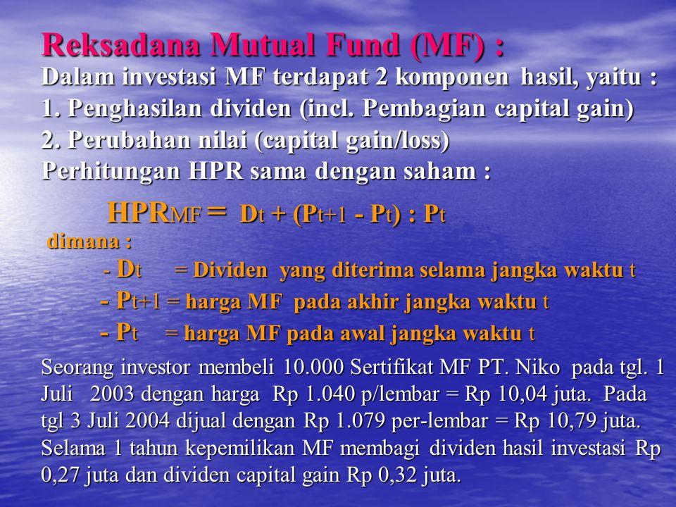 Reksadana Mutual Fund (MF) : Dalam investasi MF terdapat 2 komponen hasil, yaitu : 1.
