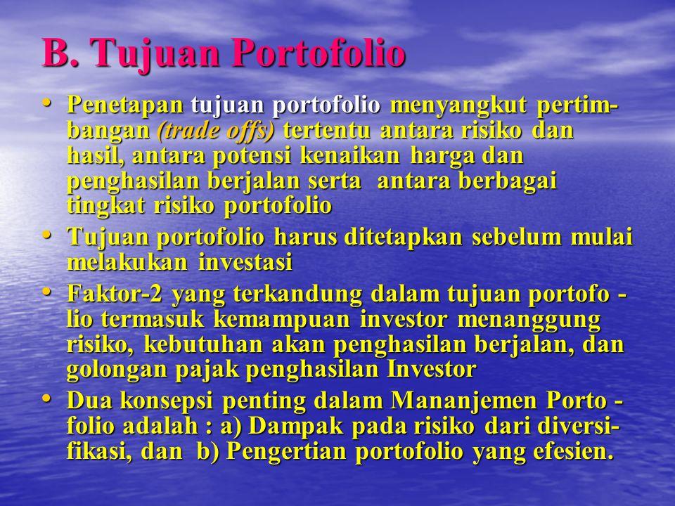 B. Tujuan Portofolio Penetapan tujuan portofolio menyangkut pertim- bangan (trade offs) tertentu antara risiko dan hasil, antara potensi kenaikan harg