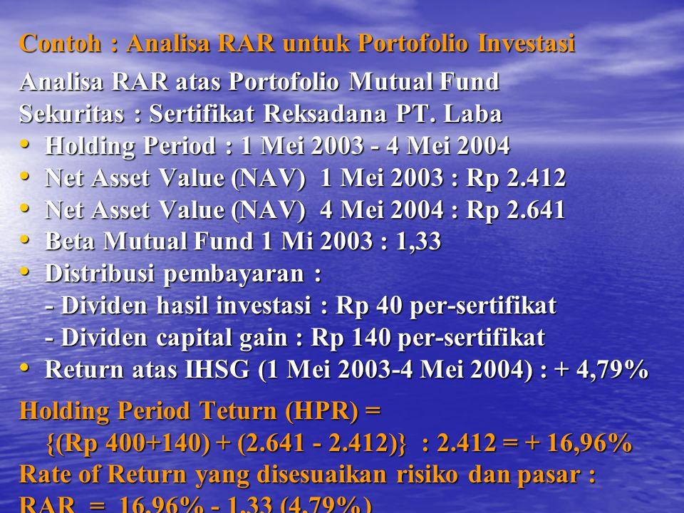 Contoh : Analisa RAR untuk Portofolio Investasi Analisa RAR atas Portofolio Mutual Fund Sekuritas : Sertifikat Reksadana PT.