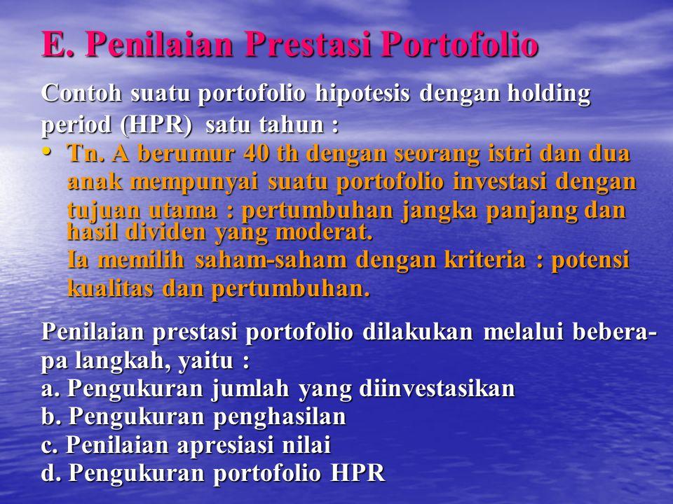 E. Penilaian Prestasi Portofolio Contoh suatu portofolio hipotesis dengan holding period (HPR) satu tahun : Tn. A berumur 40 th dengan seorang istri d