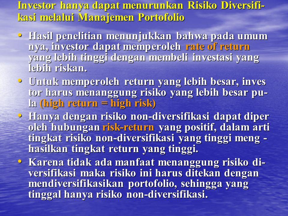 Holding Period Return (HPR) = {(Rp 400+140) + (2.641 - 2.412)} : 2.412 = + 16,96% {(Rp 400+140) + (2.641 - 2.412)} : 2.412 = + 16,96% Rate of Return yang disesuaikan risiko dan pasar : RAR = 16,96% - 1,33 (4,79%) = 16,96% - 6,27% = 16,96% - 6,27% = + 10,59% = + 10,59% RAR positif yang kuat dari Mutual Fund PT.