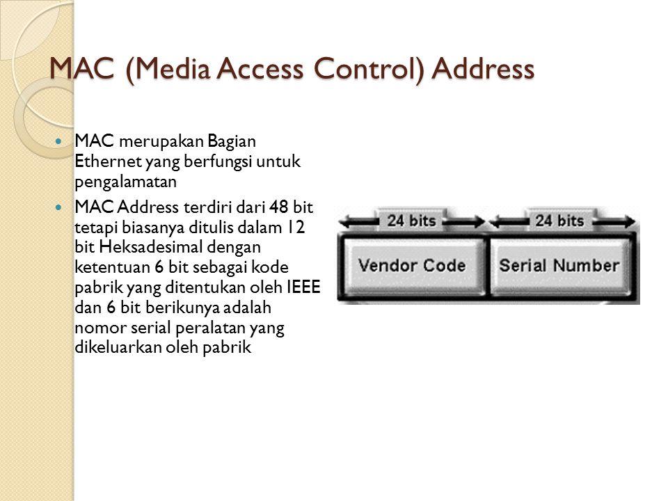MAC (Media Access Control) Address MAC merupakan Bagian Ethernet yang berfungsi untuk pengalamatan MAC Address terdiri dari 48 bit tetapi biasanya ditulis dalam 12 bit Heksadesimal dengan ketentuan 6 bit sebagai kode pabrik yang ditentukan oleh IEEE dan 6 bit berikunya adalah nomor serial peralatan yang dikeluarkan oleh pabrik