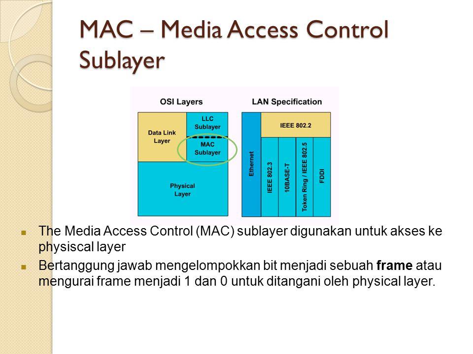MAC – Media Access Control Sublayer The Media Access Control (MAC) sublayer digunakan untuk akses ke physiscal layer Bertanggung jawab mengelompokkan bit menjadi sebuah frame atau mengurai frame menjadi 1 dan 0 untuk ditangani oleh physical layer.