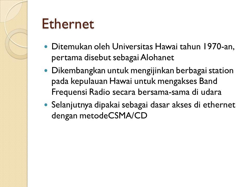 Ethernet Ditemukan oleh Universitas Hawai tahun 1970-an, pertama disebut sebagai Alohanet Dikembangkan untuk mengijinkan berbagai station pada kepulauan Hawai untuk mengakses Band Frequensi Radio secara bersama-sama di udara Selanjutnya dipakai sebagai dasar akses di ethernet dengan metodeCSMA/CD