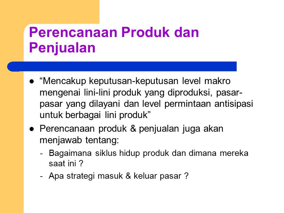 """Perencanaan Produk dan Penjualan """"Mencakup keputusan-keputusan level makro mengenai lini-lini produk yang diproduksi, pasar- pasar yang dilayani dan l"""