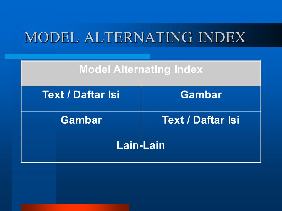 MODEL ALTERNATING INDEX Model Alternating Index Text / Daftar IsiGambar Text / Daftar Isi Lain-Lain