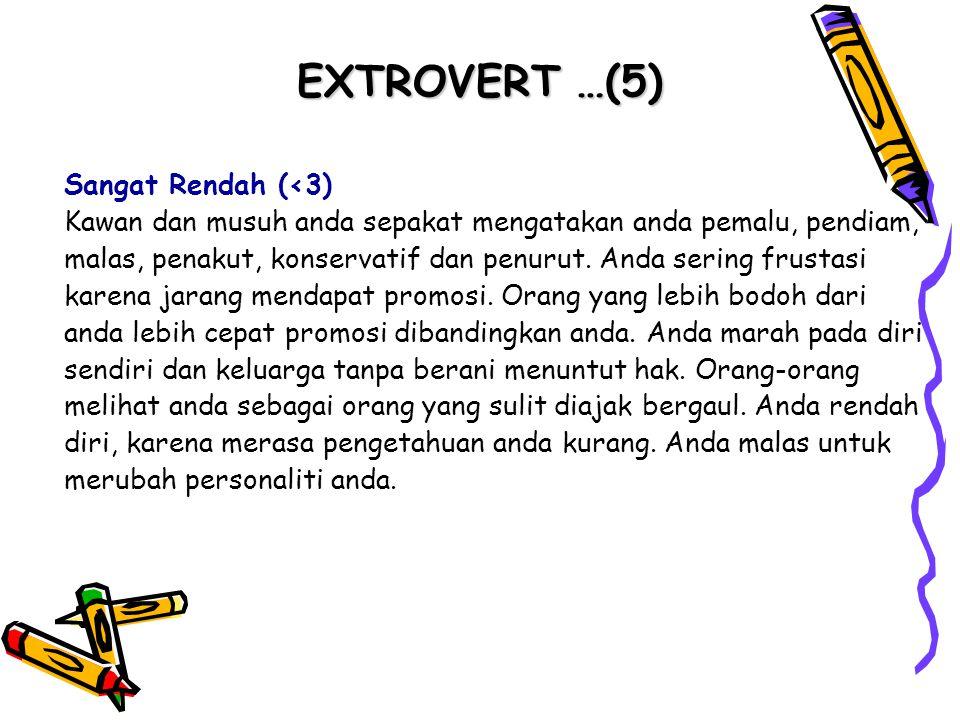 EXTROVERT …(5) Sangat Rendah (<3) Kawan dan musuh anda sepakat mengatakan anda pemalu, pendiam, malas, penakut, konservatif dan penurut. Anda sering f