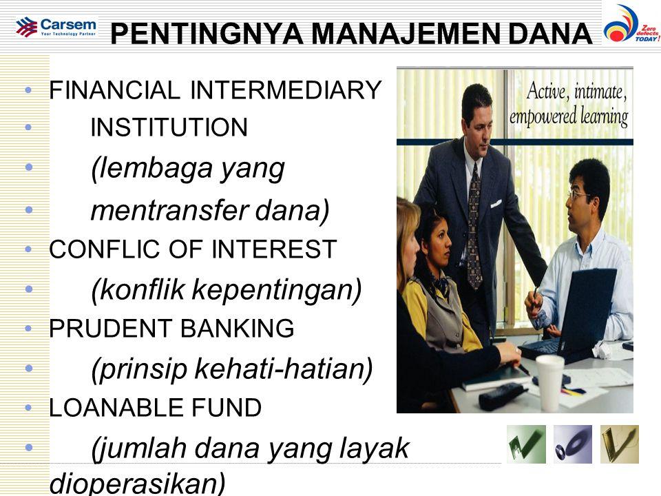 PENTINGNYA MANAJEMEN DANA FINANCIAL INTERMEDIARY INSTITUTION (lembaga yang mentransfer dana) CONFLIC OF INTEREST (konflik kepentingan) PRUDENT BANKING