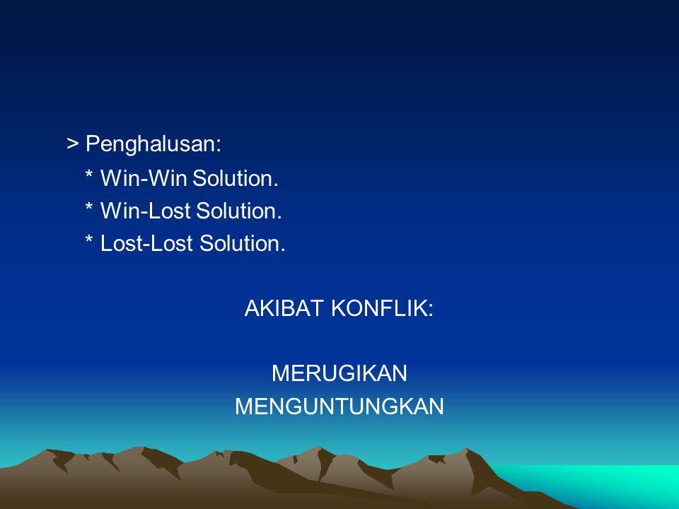 > Penghalusan: * Win-Win Solution. * Win-Lost Solution. * Lost-Lost Solution. AKIBAT KONFLIK: MERUGIKAN MENGUNTUNGKAN