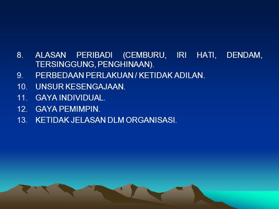 8.ALASAN PERIBADI (CEMBURU, IRI HATI, DENDAM, TERSINGGUNG, PENGHINAAN). 9.PERBEDAAN PERLAKUAN / KETIDAK ADILAN. 10.UNSUR KESENGAJAAN. 11.GAYA INDIVIDU