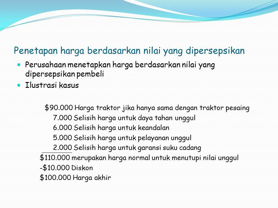 Penetapan harga berdasarkan nilai yang dipersepsikan Perusahaan menetapkan harga berdasarkan nilai yang dipersepsikan pembeli Ilustrasi kasus $90.000