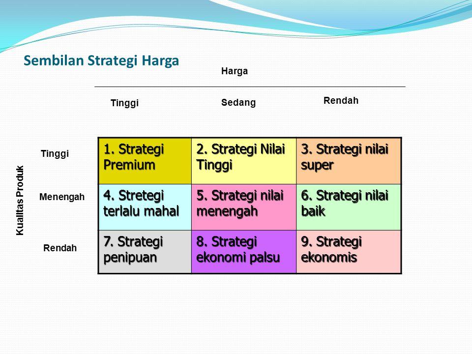 Sembilan Strategi Harga 1. Strategi Premium 2. Strategi Nilai Tinggi 3. Strategi nilai super 4. Stretegi terlalu mahal 5. Strategi nilai menengah 6. S