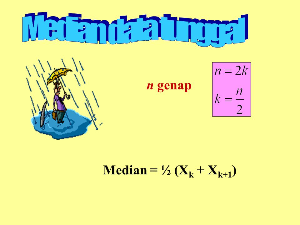n genap Median = ½ (X k + X k+1 )