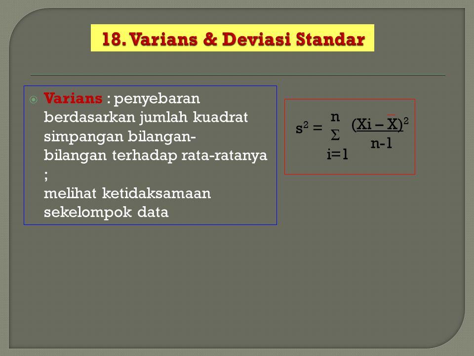  Varians : penyebaran berdasarkan jumlah kuadrat simpangan bilangan- bilangan terhadap rata-ratanya ; melihat ketidaksamaan sekelompok data s 2 = n Σ