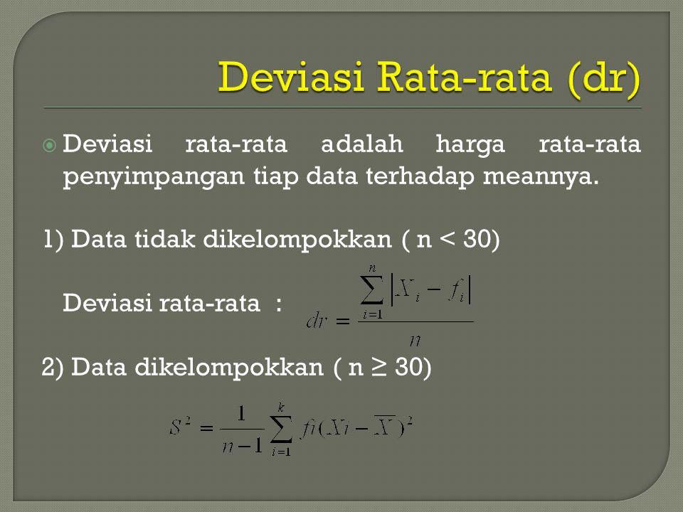  Deviasi rata-rata adalah harga rata-rata penyimpangan tiap data terhadap meannya. 1) Data tidak dikelompokkan ( n < 30) Deviasi rata-rata : 2) Data