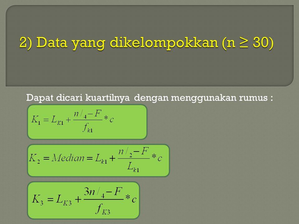 Varians & Deviasi Standar Nilai XX -X(X –X) 2 100452025 100452025 100452025 90351225 8025625 30-25625 20-351225 10-452025 10-452025 10-452025 Jumlah15850 Kelompok B s = √ 15850 9 = 41.97 Kesimpulan : Kelompok A : rata-rata = 55 ; DR = 25 ; s = 30.28 Kelompok B : rata-rata = 55 ; DR = 39 ; s = 41.97 Maka data kelompok B lebih tersebar daripada kelompok A