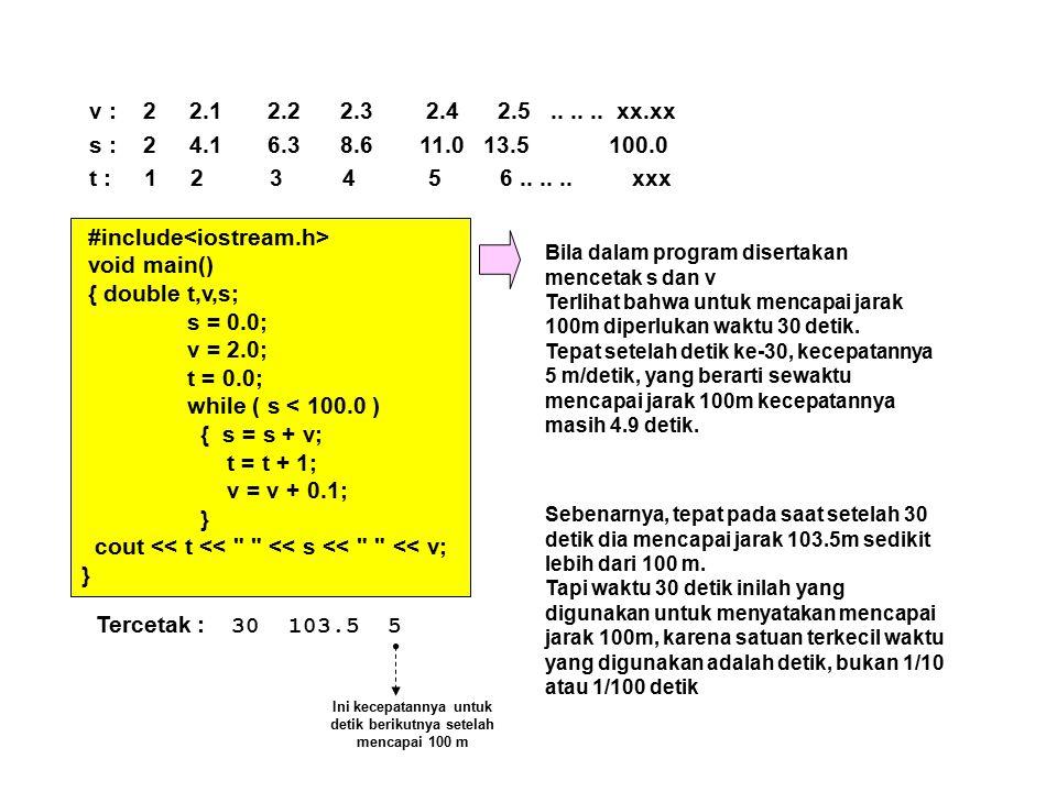 v : 2 2.1 2.2 2.3 2.4 2.5...... xx.xx s : 2 4.1 6.3 8.6 11.0 13.5 100.0 t : 1 2 3 4 5 6...... xxx #include void main() { double t,v,s; s = 0.0; v = 2.