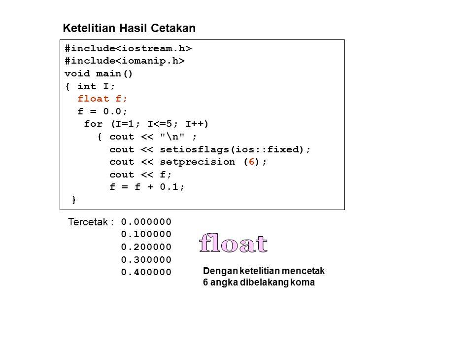#include void main() { int I; float f; f = 0.0; for (I=1; I<=5; I++) { cout << \n ; cout << setiosflags(ios::fixed); cout << setprecision (6); cout << f; f = f + 0.1; } Tercetak : 0.000000 0.100000 0.200000 0.300000 0.400000 Ketelitian Hasil Cetakan Dengan ketelitian mencetak 6 angka dibelakang koma