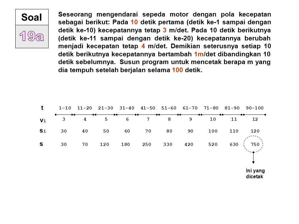 Seseorang mengendarai sepeda motor dengan pola kecepatan sebagai berikut: Pada 10 detik pertama (detik ke-1 sampai dengan detik ke-10) kecepatannya te