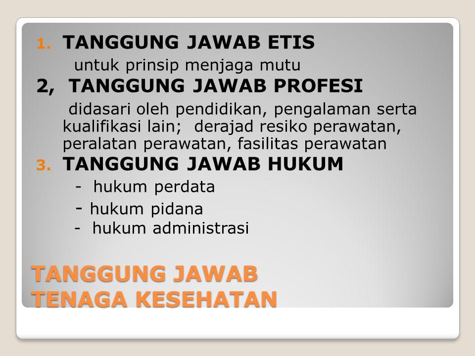 TANGGUNG JAWAB TENAGA KESEHATAN 1. TANGGUNG JAWAB ETIS untuk prinsip menjaga mutu 2, TANGGUNG JAWAB PROFESI didasari oleh pendidikan, pengalaman serta