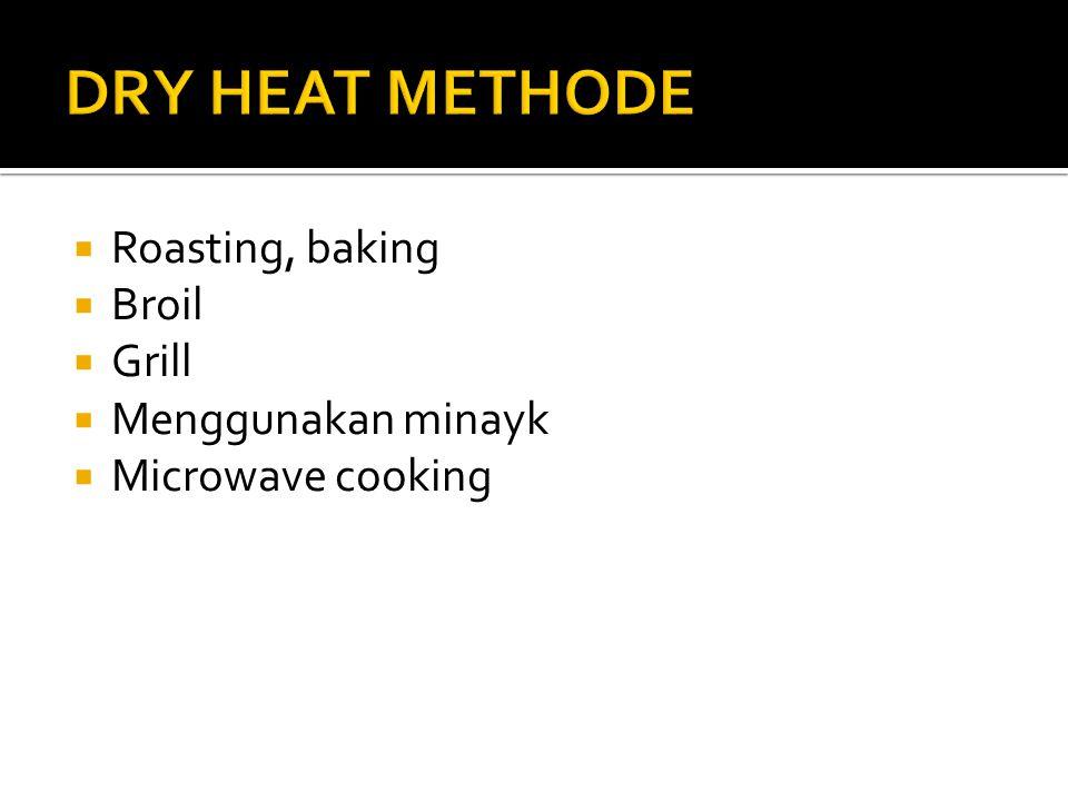  Roasting, baking  Broil  Grill  Menggunakan minayk  Microwave cooking