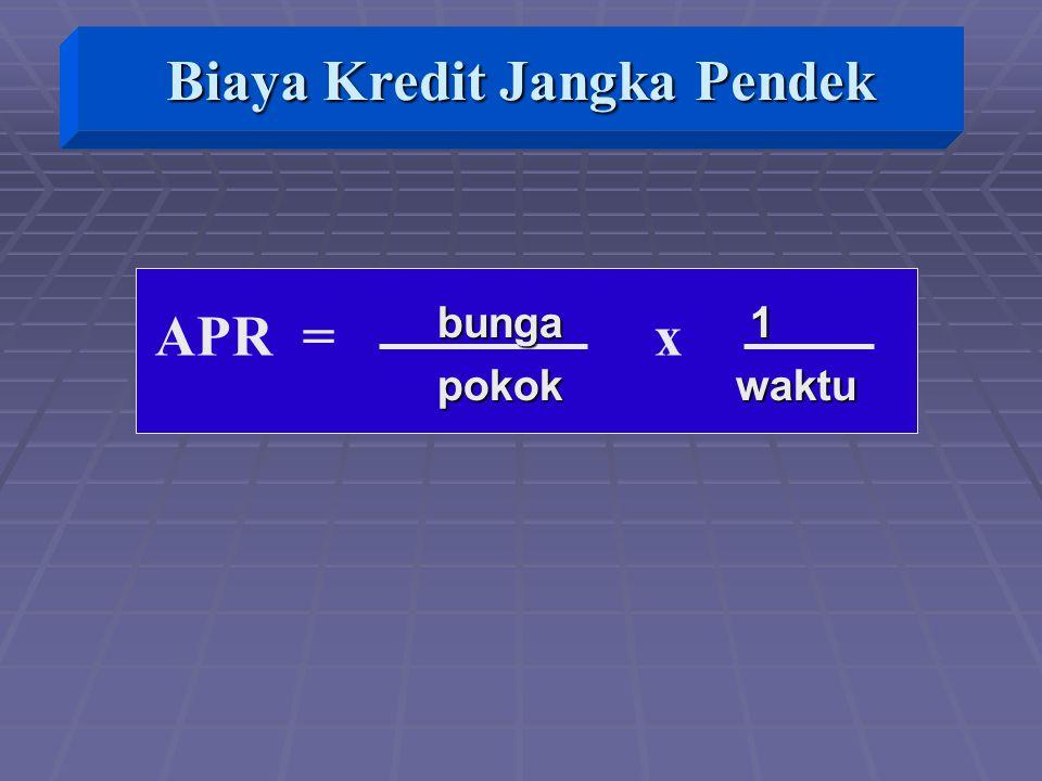 APR = x bunga 1 bunga 1 pokok waktu pokok waktu Biaya Kredit Jangka Pendek