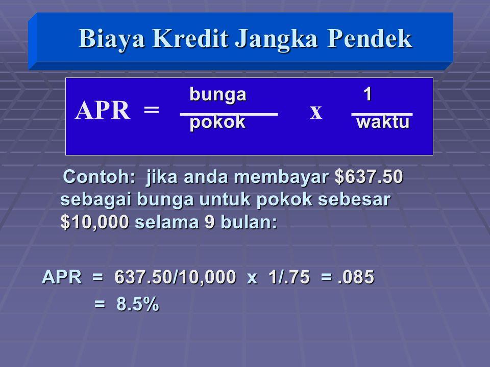 APR = x bunga 1 bunga 1 pokok waktu pokok waktu Contoh: jika anda membayar $637.50 sebagai bunga untuk pokok sebesar $10,000 selama 9 bulan: Contoh: jika anda membayar $637.50 sebagai bunga untuk pokok sebesar $10,000 selama 9 bulan: APR = 637.50/10,000 x 1/.75 =.085 = 8.5% = 8.5% Biaya Kredit Jangka Pendek