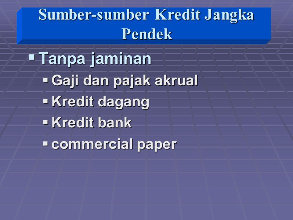  Tanpa jaminan  Gaji dan pajak akrual  Kredit dagang  Kredit bank  commercial paper Sumber-sumber Kredit Jangka Pendek