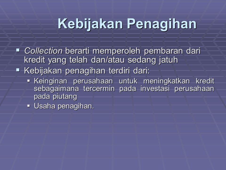  Collection berarti memperoleh pembaran dari kredit yang telah dan/atau sedang jatuh  Kebijakan penagihan terdiri dari:  Keinginan perusahaan untuk meningkatkan kredit sebagaimana tercermin pada investasi perusahaan pada piutang  Usaha penagihan.