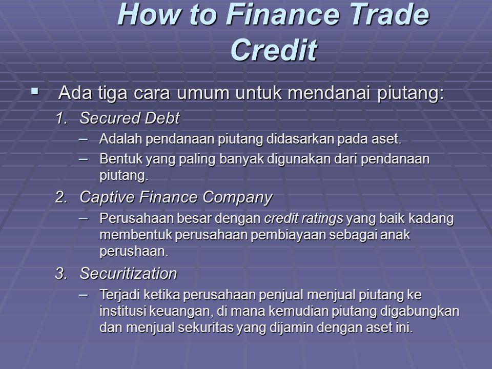  Ada tiga cara umum untuk mendanai piutang: 1.Secured Debt – Adalah pendanaan piutang didasarkan pada aset.