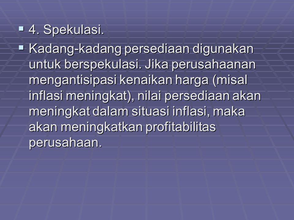  4.Spekulasi.  Kadang-kadang persediaan digunakan untuk berspekulasi.