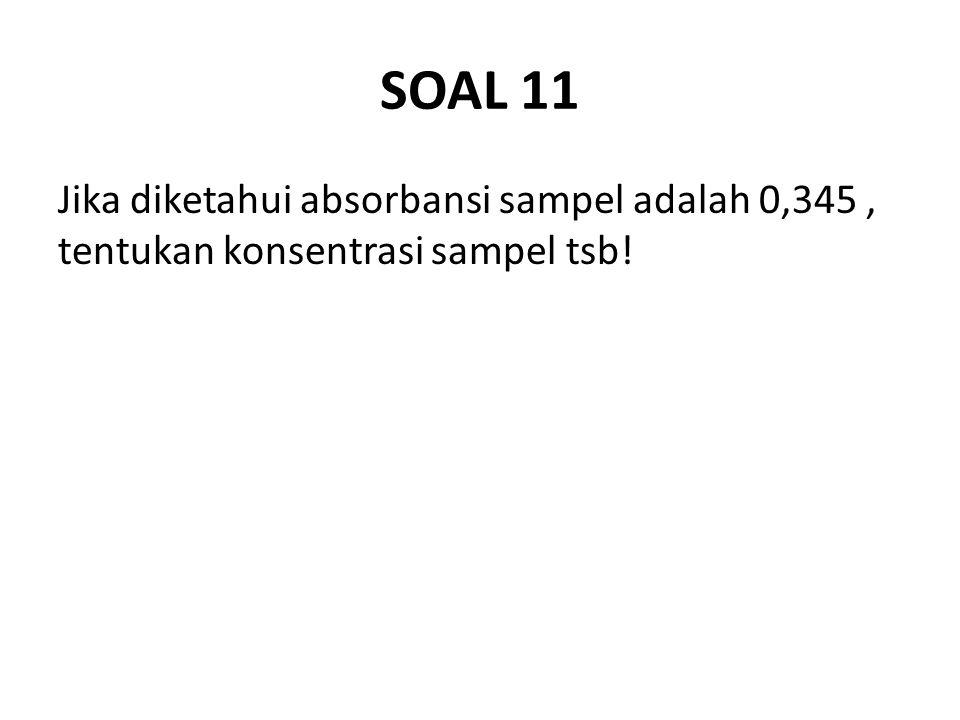 SOAL 11 Jika diketahui absorbansi sampel adalah 0,345, tentukan konsentrasi sampel tsb!