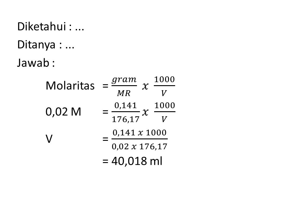 SOAL 10 Diketahui data absorbansi zat X adalah sbb : Hitunglah persamaan regresi liniernya.