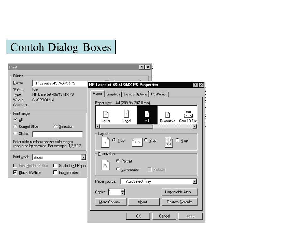 Contoh Dialog Boxes