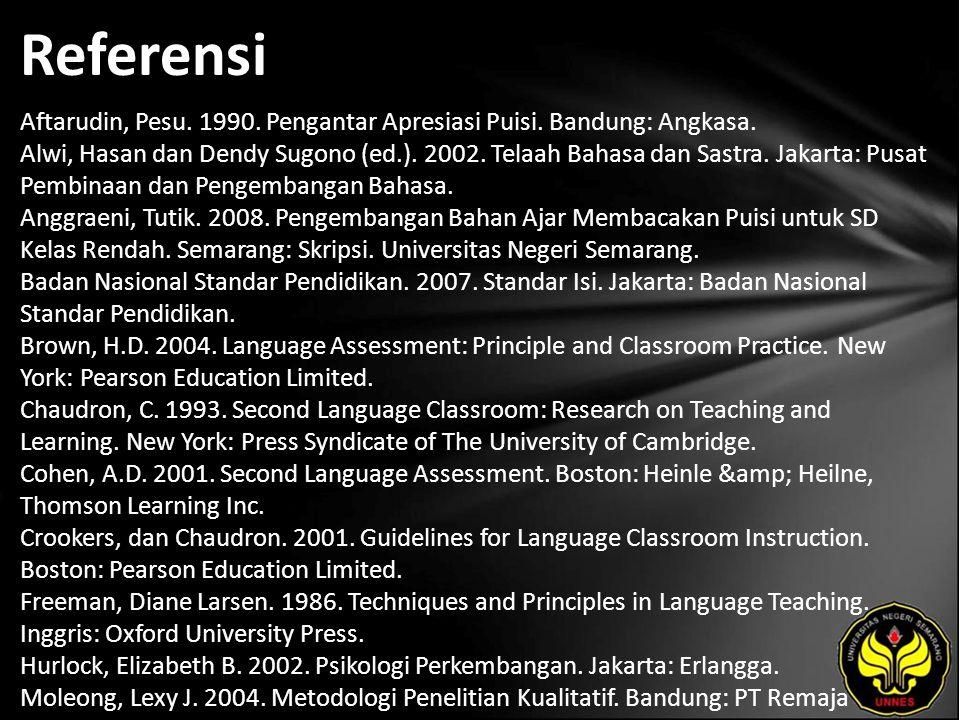Referensi Aftarudin, Pesu. 1990. Pengantar Apresiasi Puisi.
