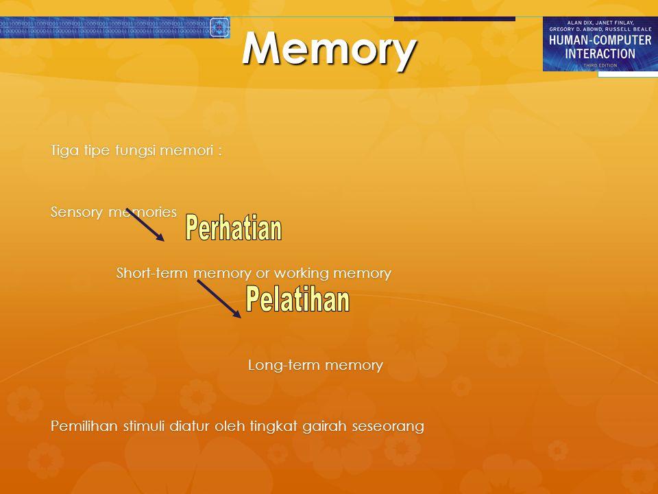 Memory Tiga tipe fungsi memori : Sensory memories Short-term memory or working memory Long-term memory Pemilihan stimuli diatur oleh tingkat gairah se