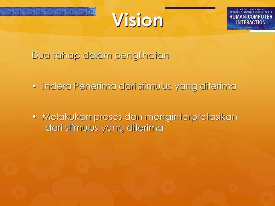 Mata- Indera Penerima   Proses yang terjadi pada mata untuk mendapatkan visi adalah sebagai berikut :   Merupakan suatu mekanisme penerimaan cahaya yang ditransformasikan ke dalam energi elektrik   Cahaya memantul dari obyek yang dipandang dan citranya difokuskan secara terbalik pada retina   Retina mengandung rod (organ berbentuk batang) untuk pandangan cahaya lemah dan cone (organ yang berbentuk kerucut) untuk pandangan berwarna   Sel ganglion (pusat syaraf) berfungsi untuk mendeteksi pola dan pergerakan