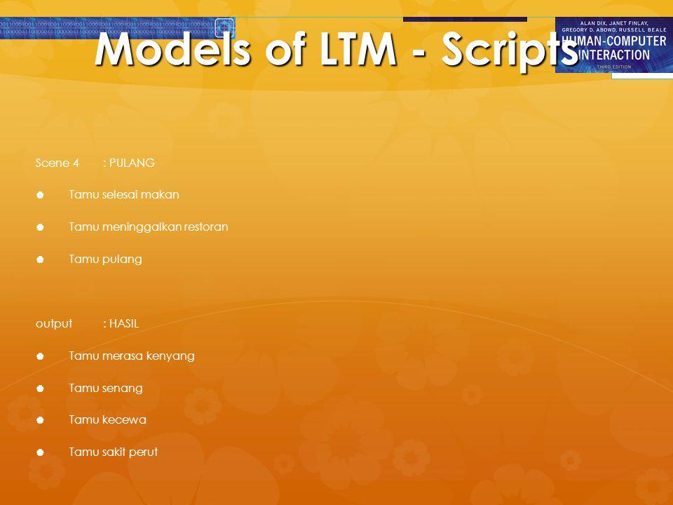 Models of LTM - Scripts Scene 4: PULANG   Tamu selesai makan   Tamu meninggalkan restoran   Tamu pulang output: HASIL   Tamu merasa kenyang 